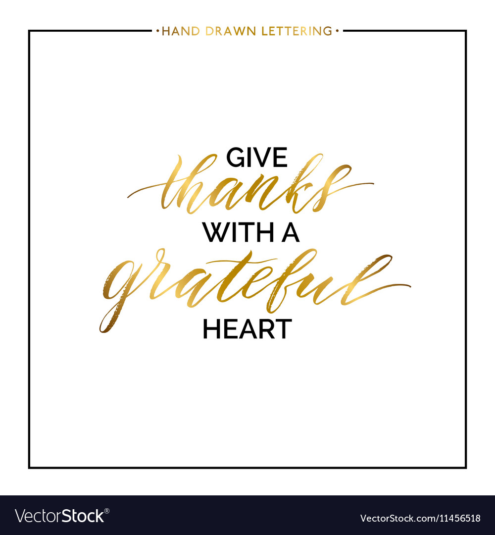 Give thanks gold lettering isolated on white