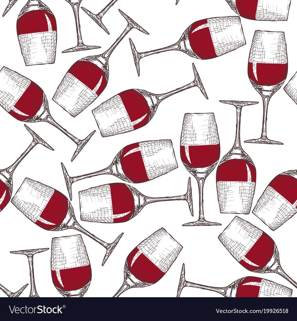 Hand drawn engraved wineglass seamless pattern