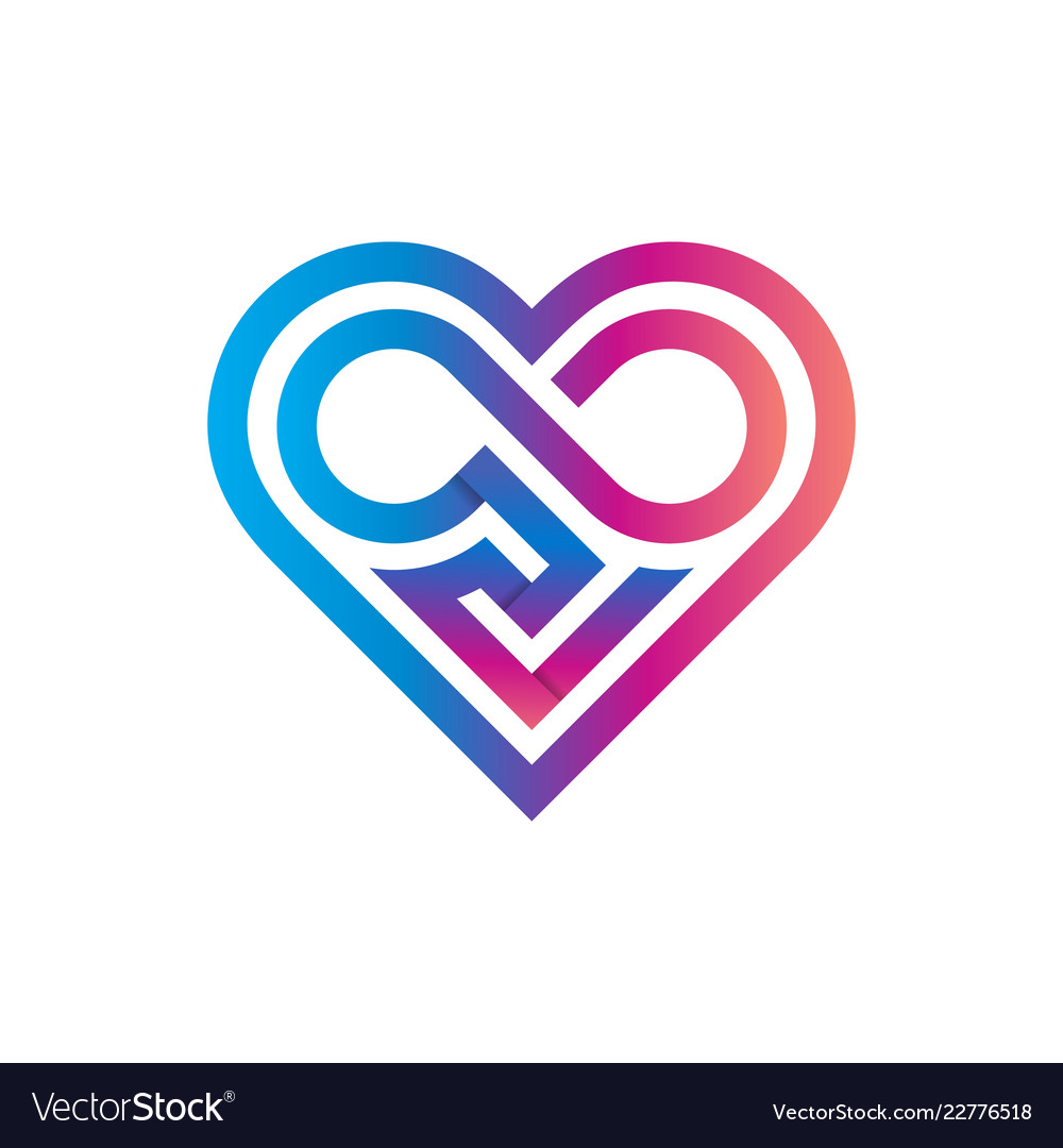 Heart classic geometric logo template infinity