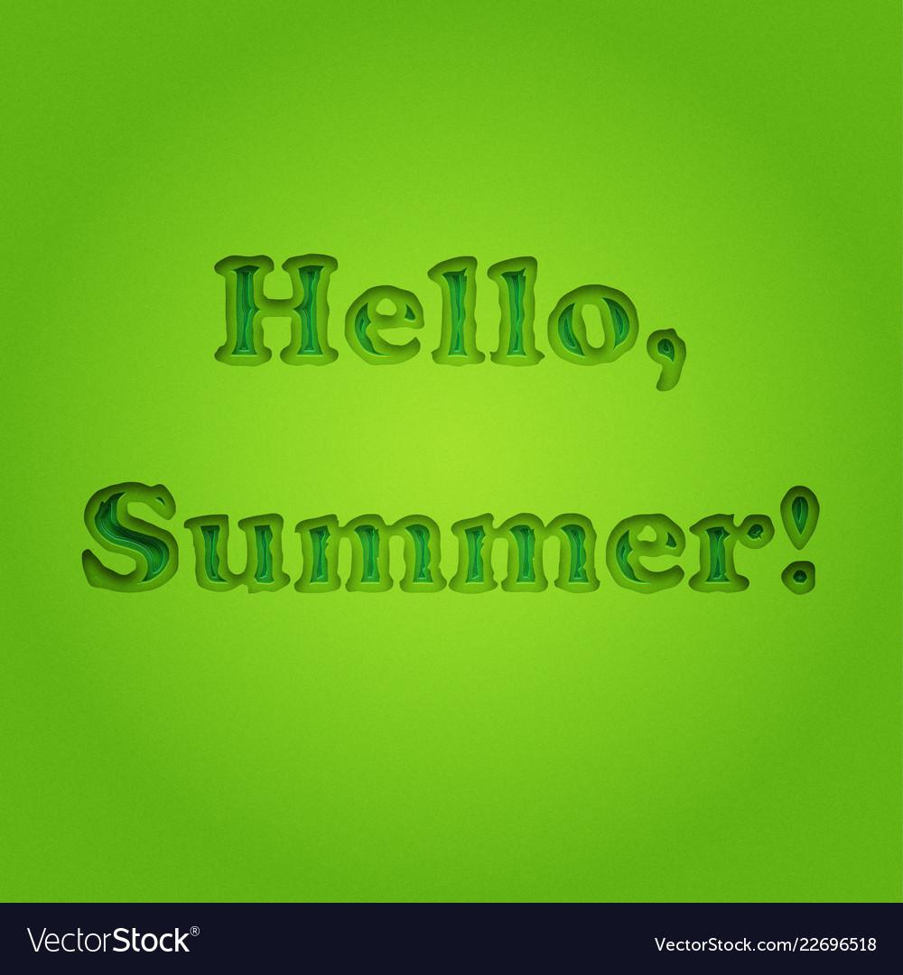 Hello summer typographic inscription
