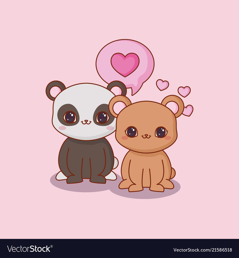 Image of: Cute Kawaii Animals And Love Vector Image Vectorstock Kawaii Animals And Love Royalty Free Vector Image