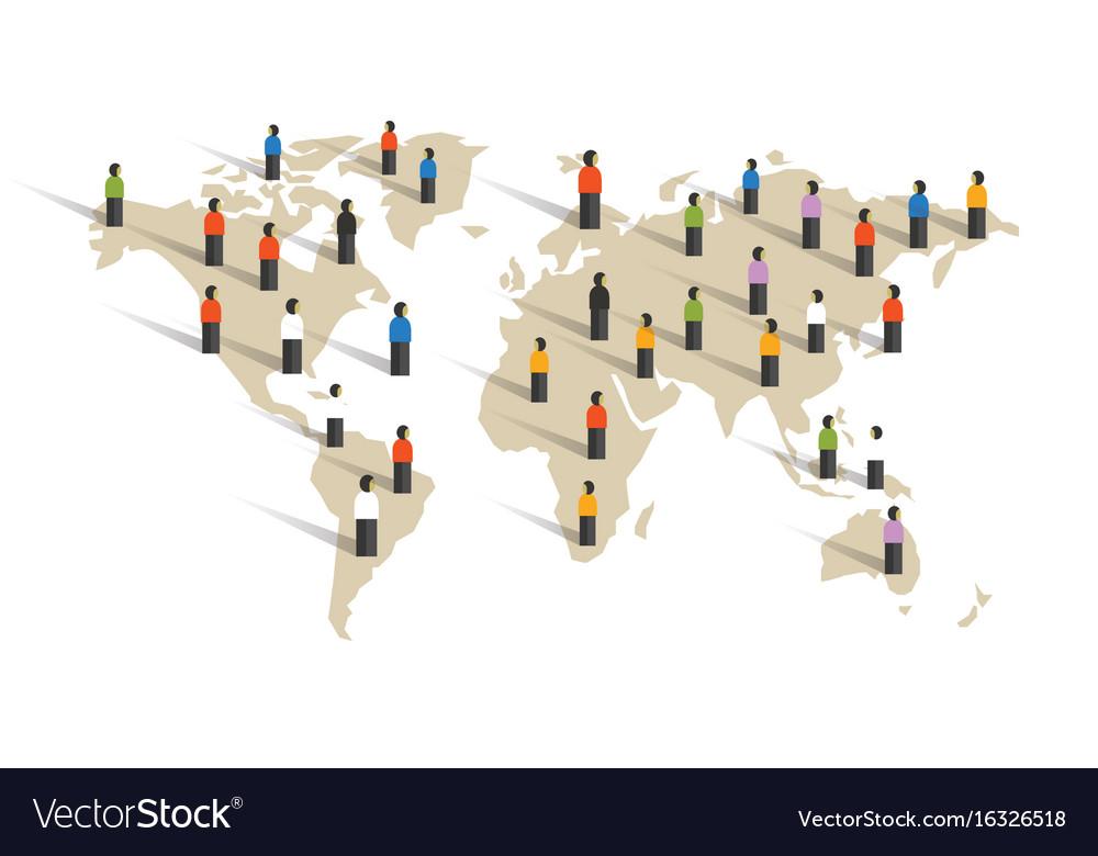 People spread across world map diversity around