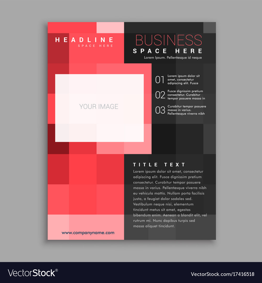 Red square business flyer poster design template