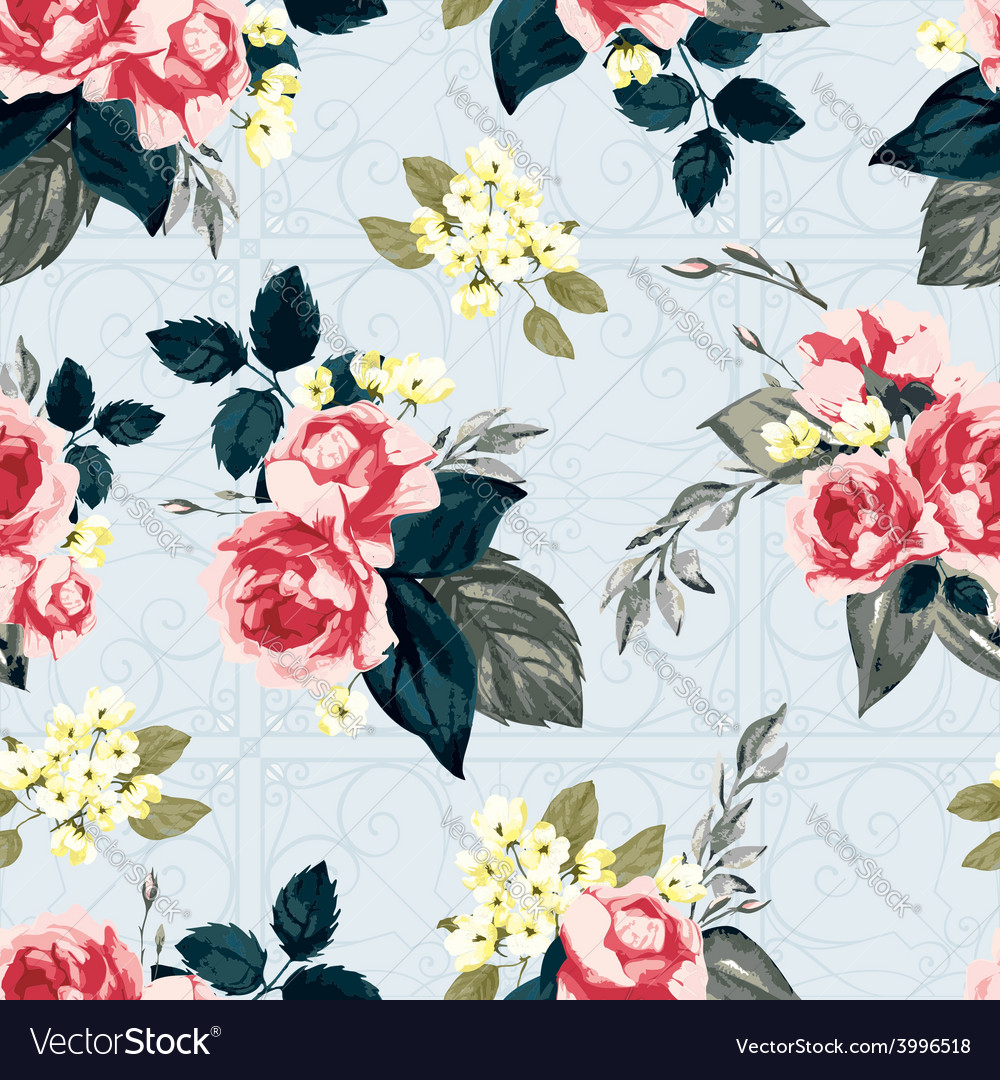 Seamless floral pattern with ornament