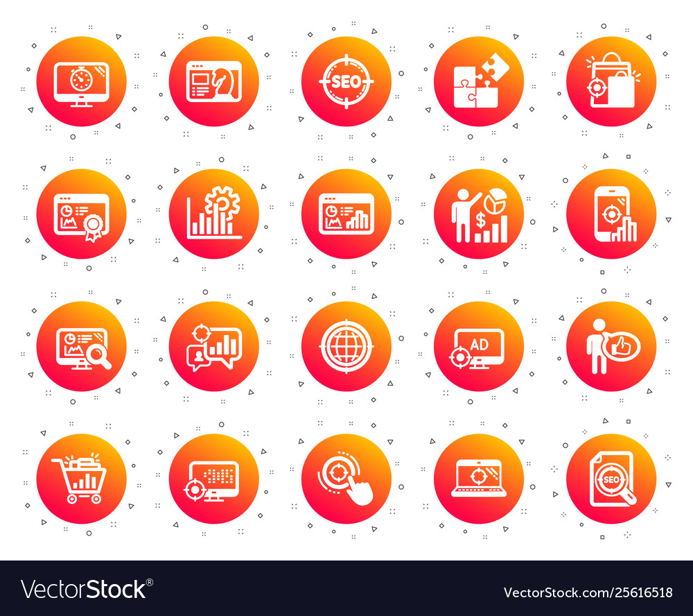 Seo icons set increase sales business