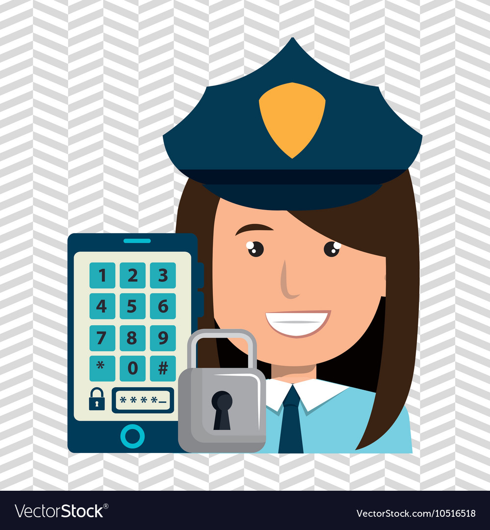 Woman smartphone password vector image on VectorStock