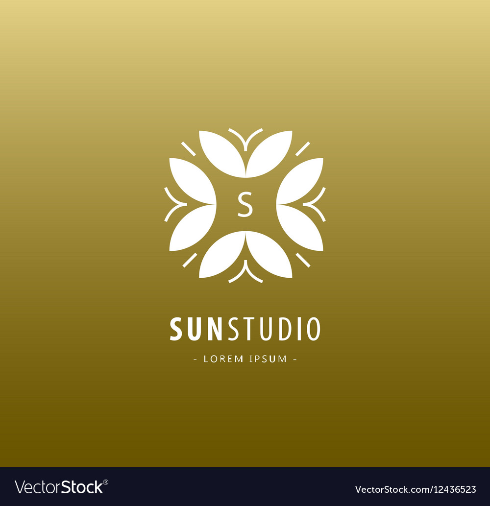 Abstract floral logo luxury retro royal