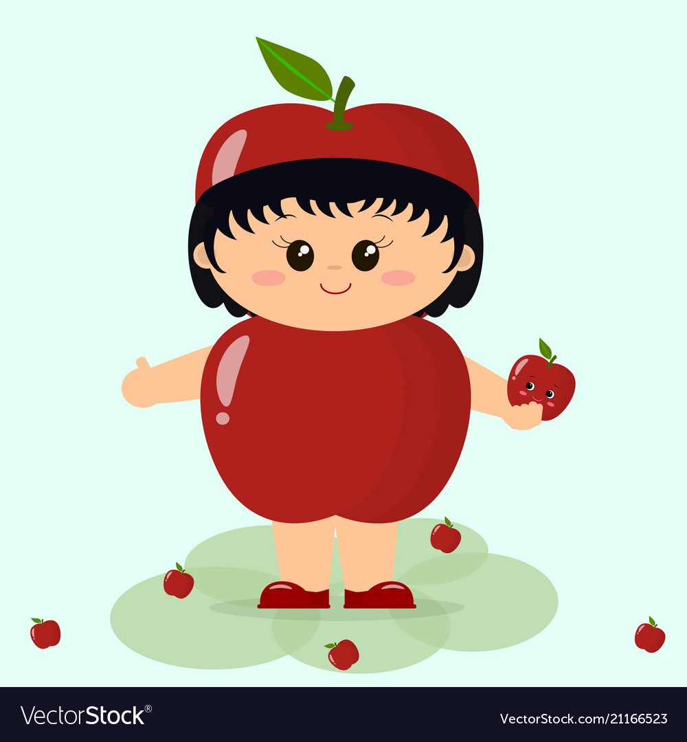 Babe in a red apple costume
