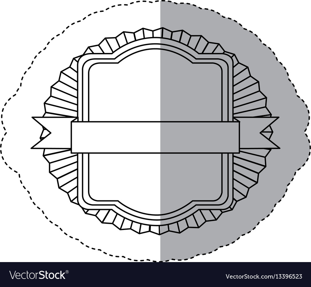 Contour emblem squard border with ribbon icon vector image