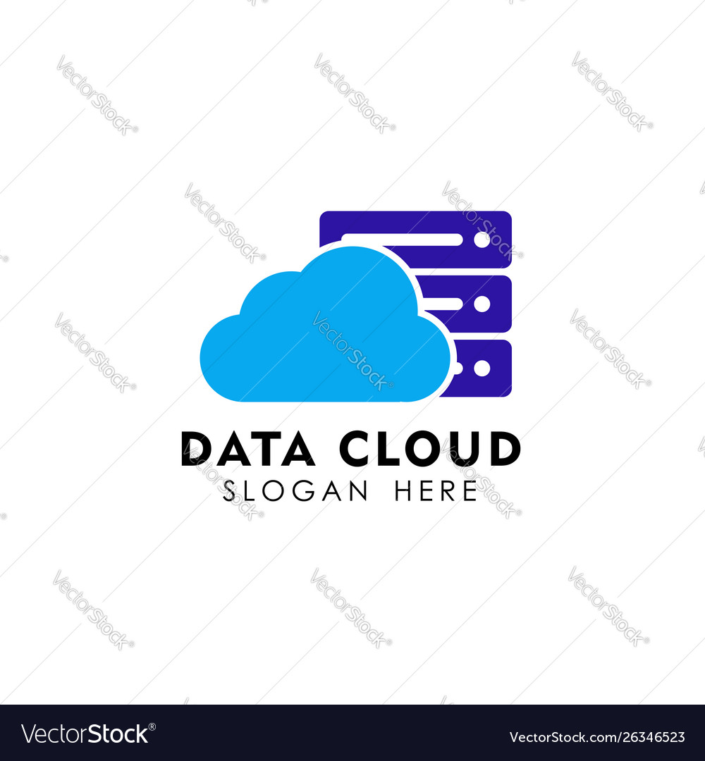 Data cloud logo design template server cloud logo