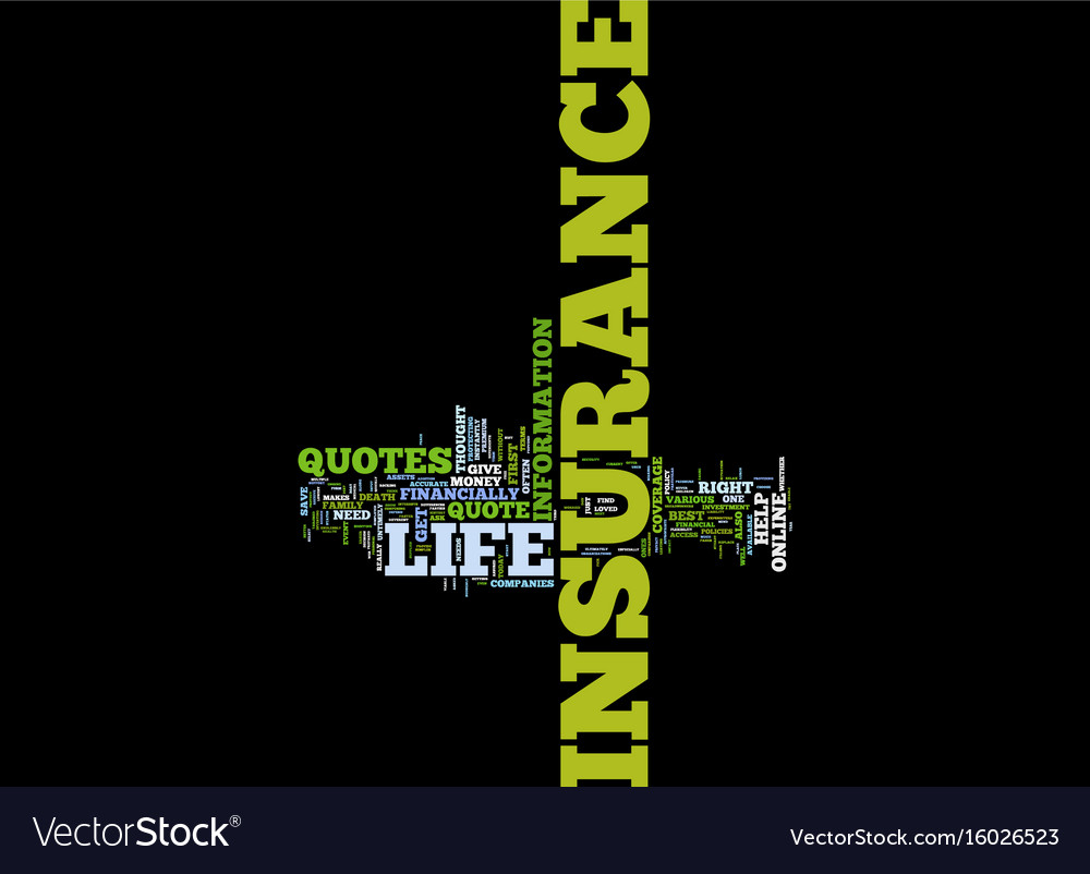 Free Life Insurance Quotes Text Background Word Vector Image