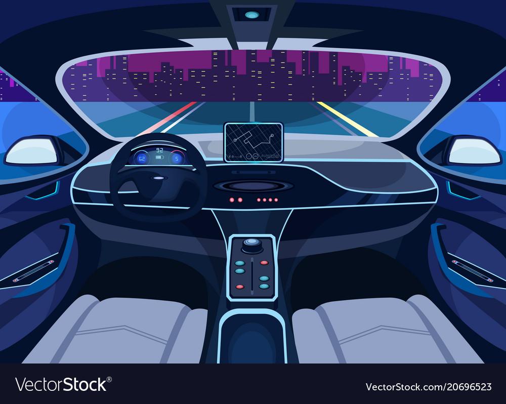 Futuristic Car Salon With Gps Autopilot Vehicle Vector Image