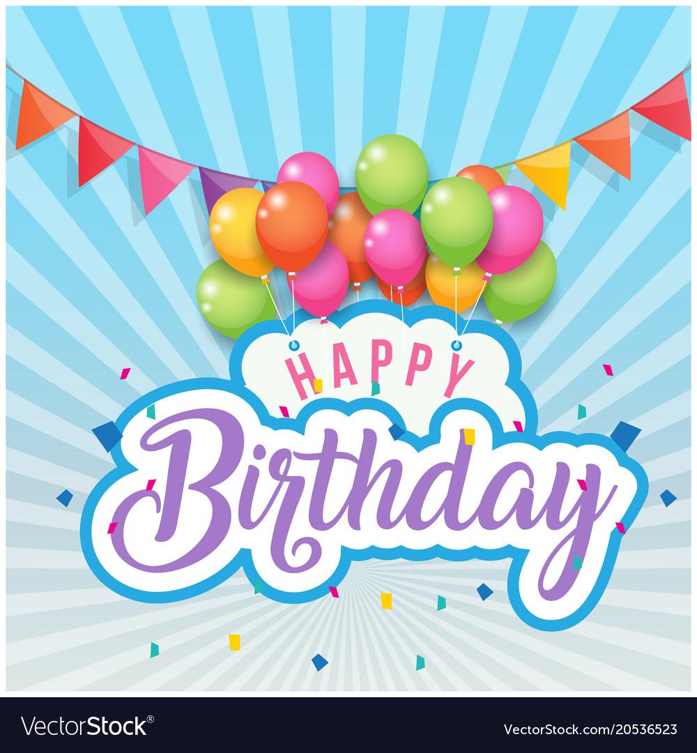 Happy birthday balloon flags blue background
