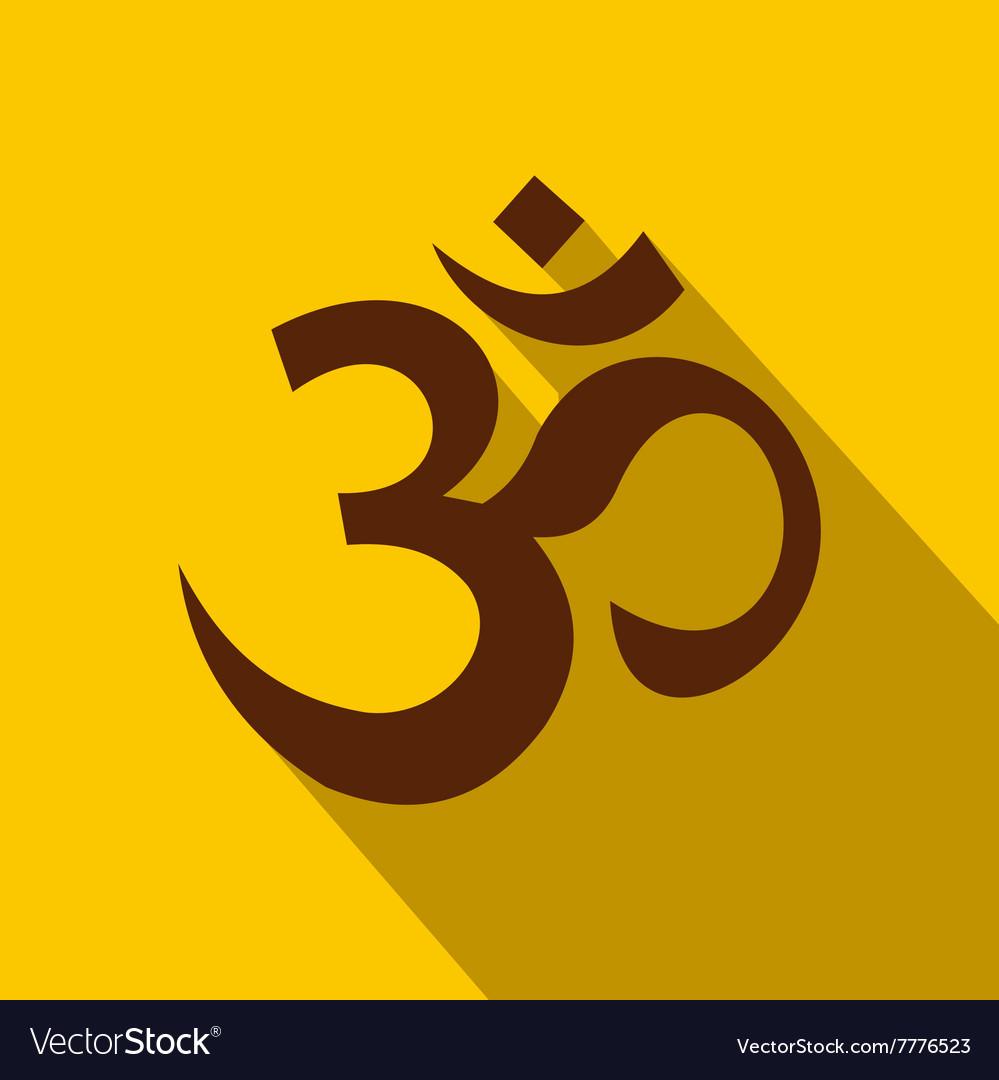 Hindu Om Symbol Icon Flat Style Royalty Free Vector Image