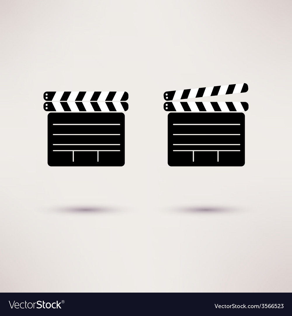 Movie Clapper set of icons in a flat style