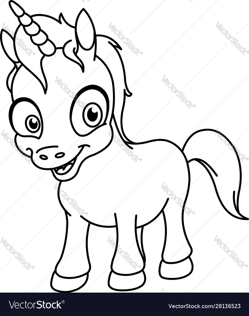 Outlined smiling unicorn