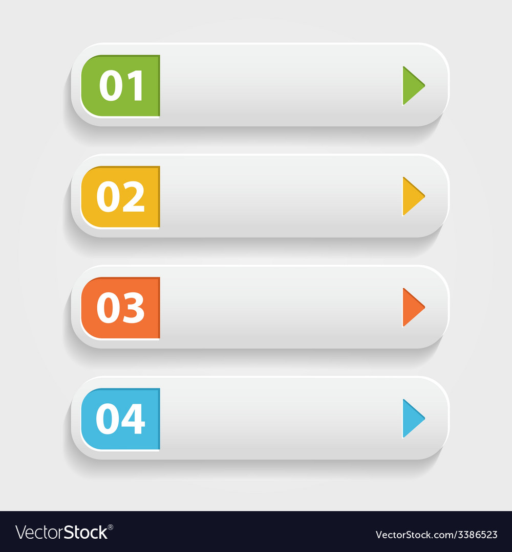 Realistic Web buttonsinfographic with numbers over
