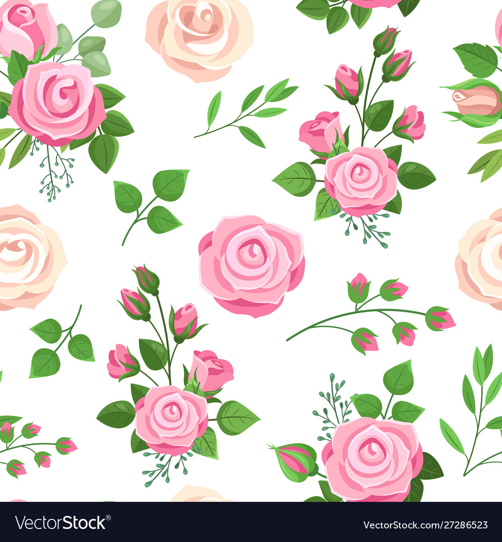 Roses seamless pattern red white and pink roses