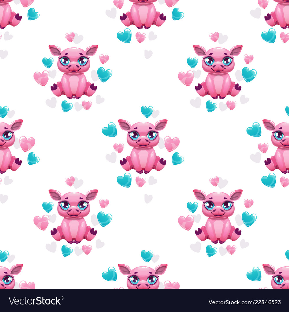 Seamless pattern with cute cartoon pink pig and