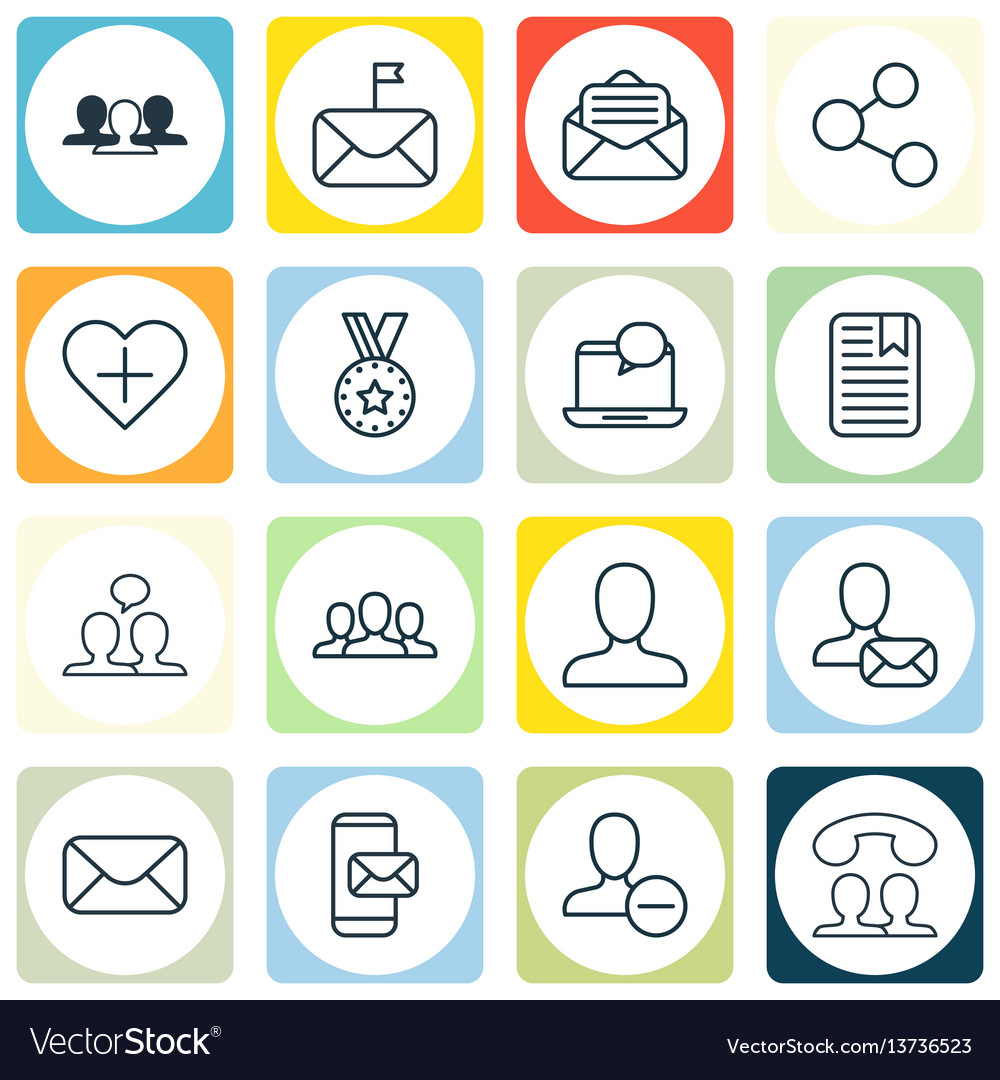 Set of 16 social icons includes online letter