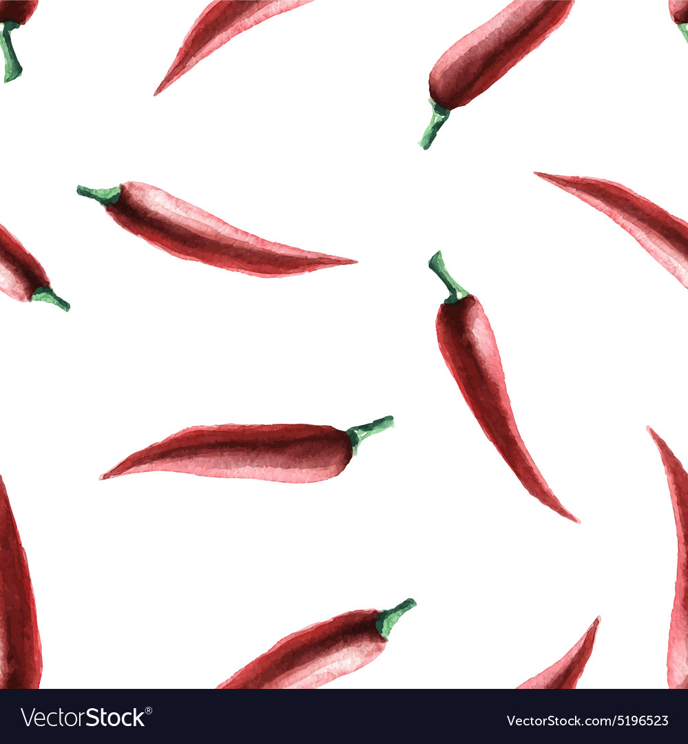 Watercolor chilli pepper seamless pattern