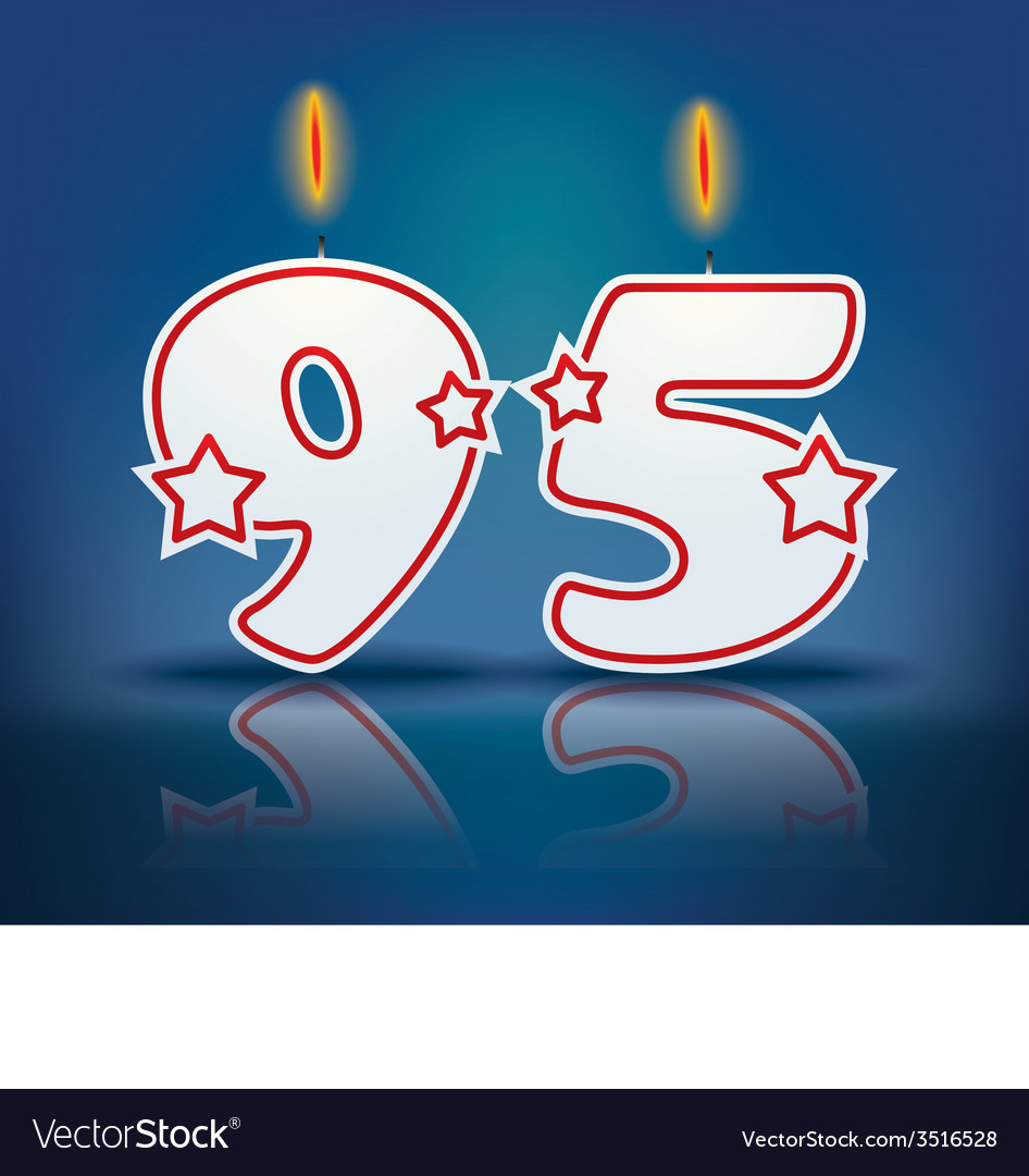 Birthday Candle Number 95 Royalty Free Vector Image