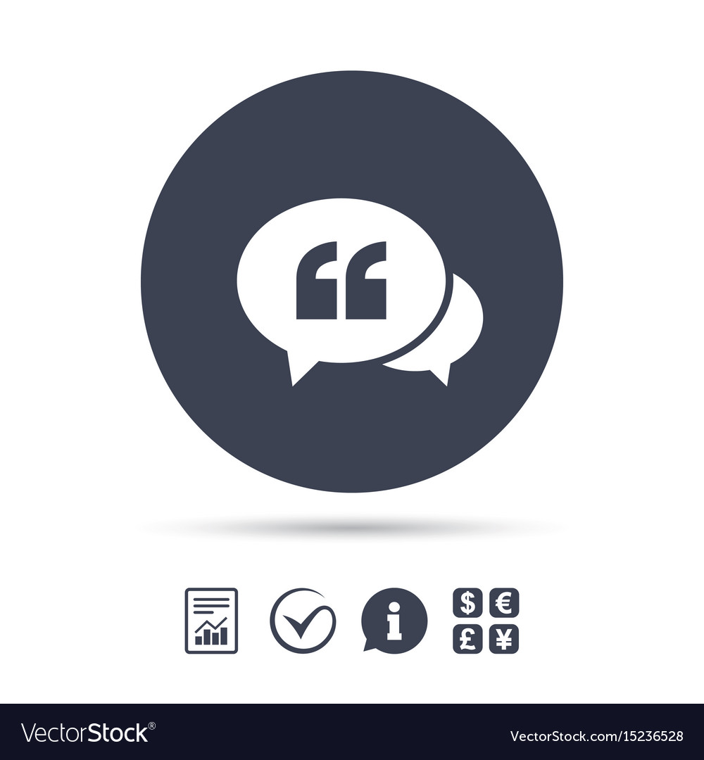 Chat Quote Sign Icon Quotation Mark Symbol Vector Image