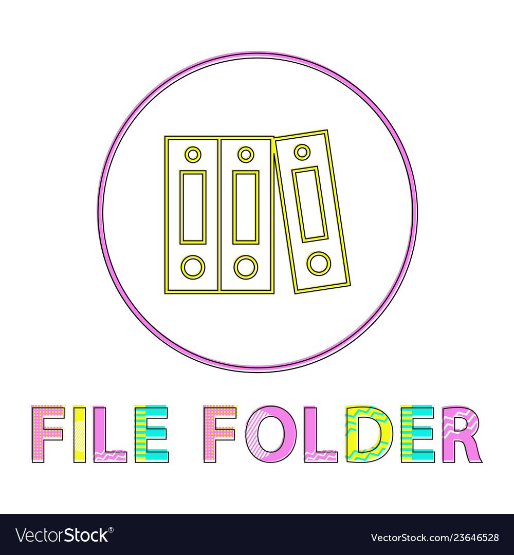 File folder bright round linear icon template