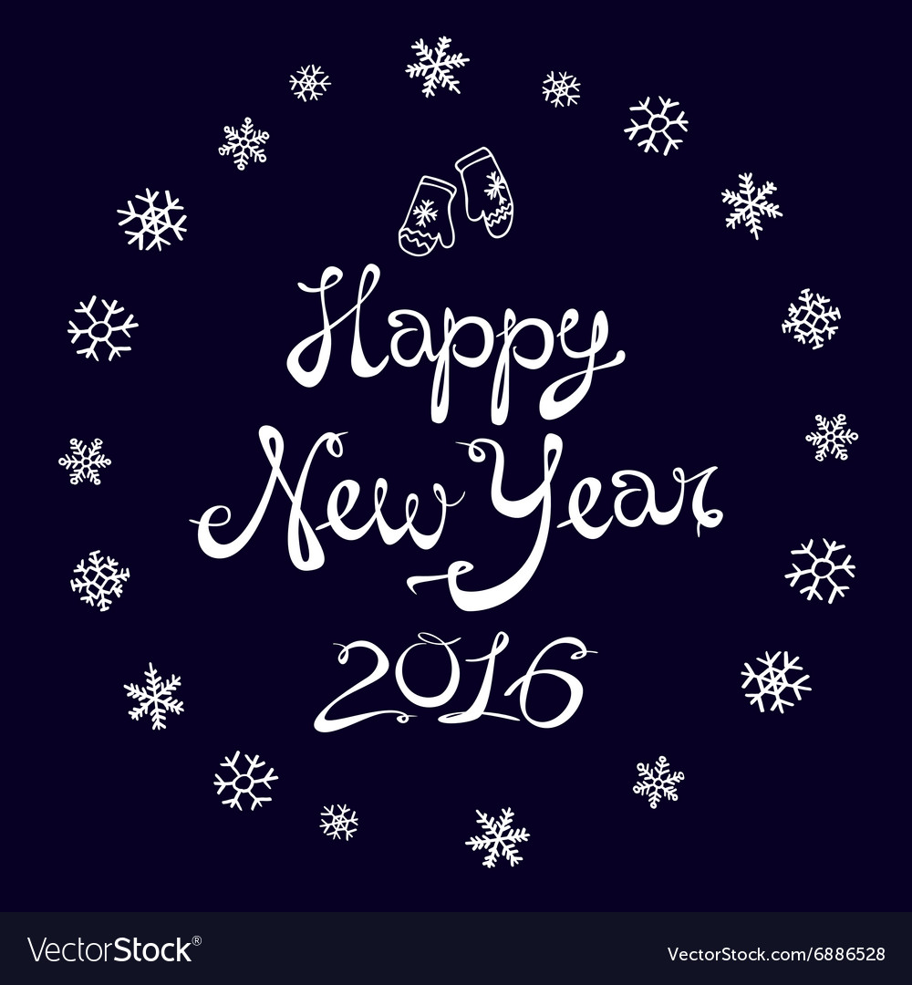 Happy New Year Card 2016 snowflake vector image