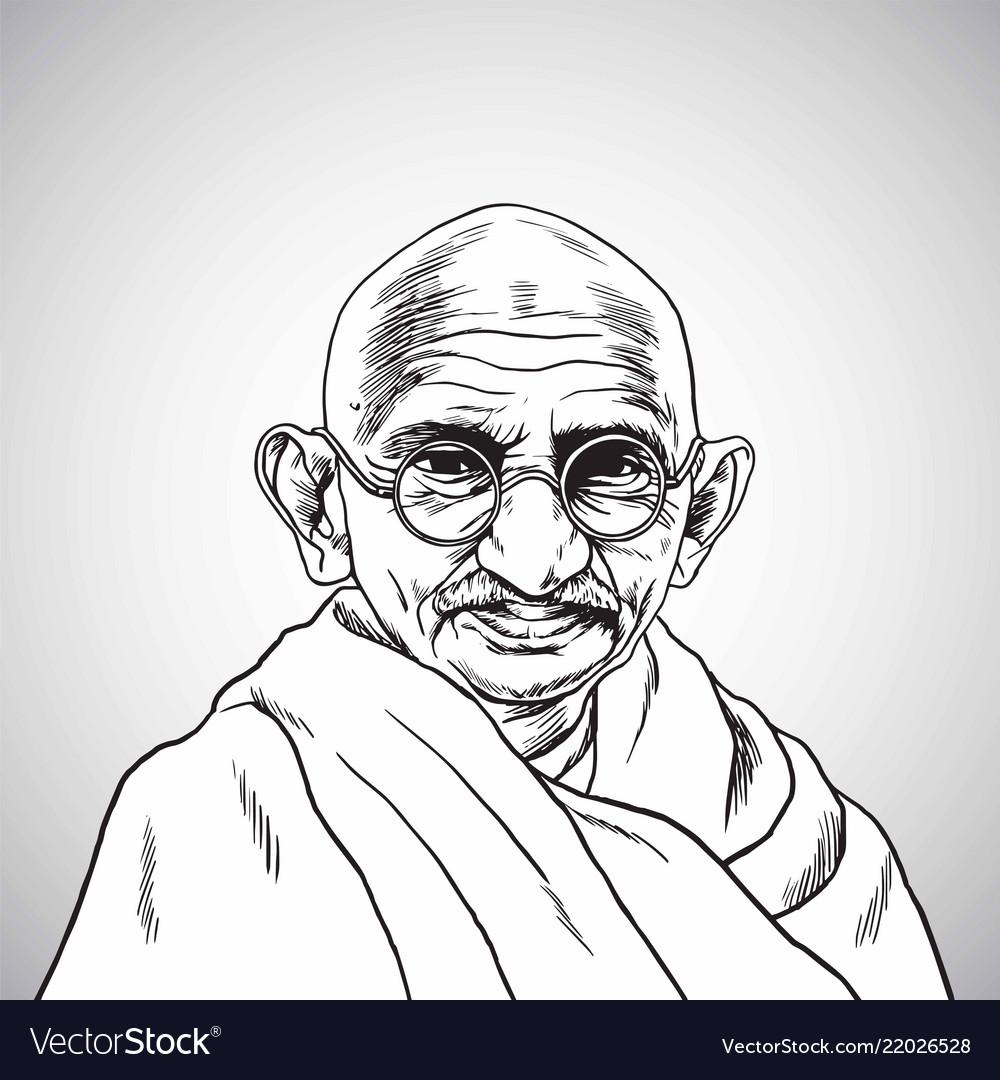 Mahatma gandhi portrait drawing cartoon vector image