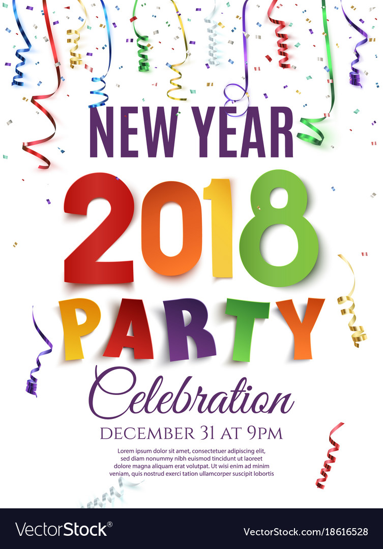 New year 2018 party poster