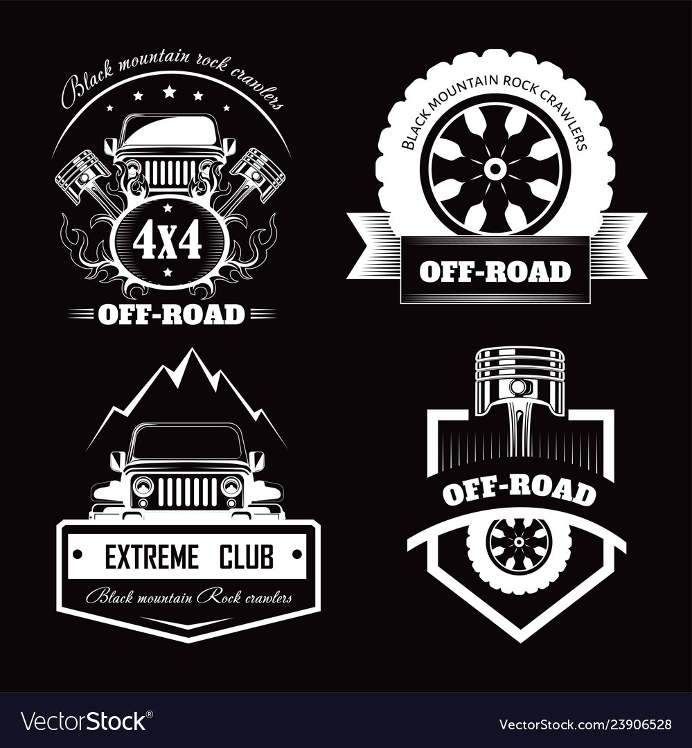 Off Road 4x4 Extreme Car Club Logo Templates Vector Image
