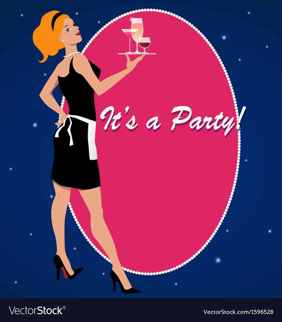 Party invitation with a cocktail waitress vector