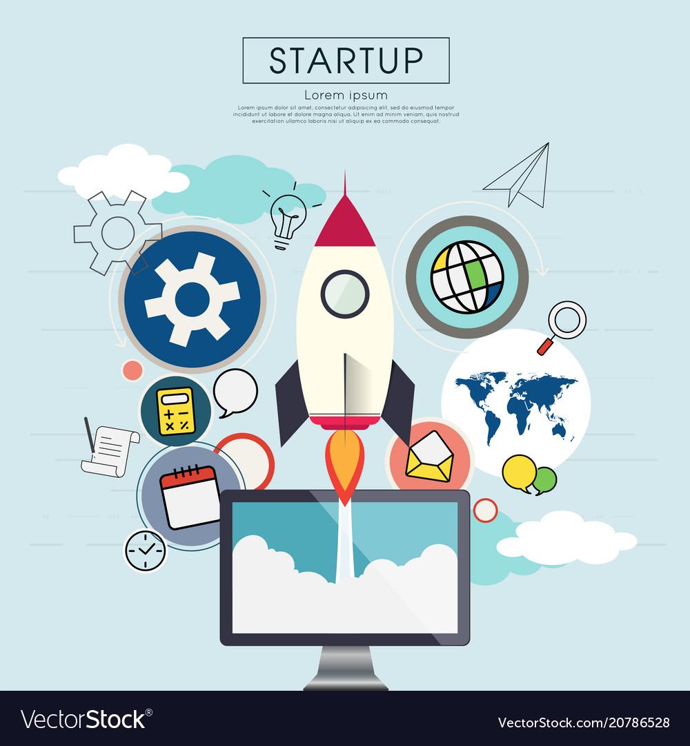 Rocketship on computer for startup media