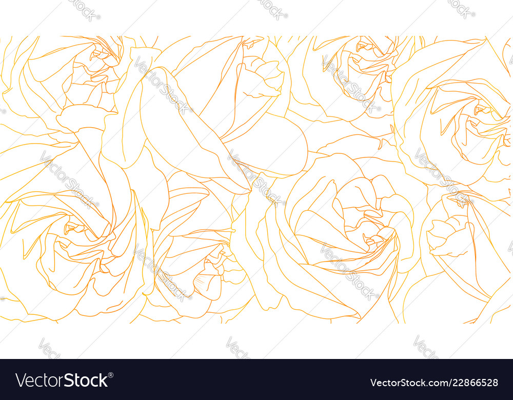 Roses bud outlines floral pattern with roses