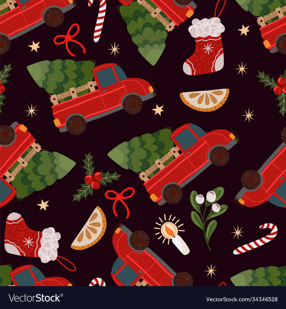 Seamless pattern with red pickup truck