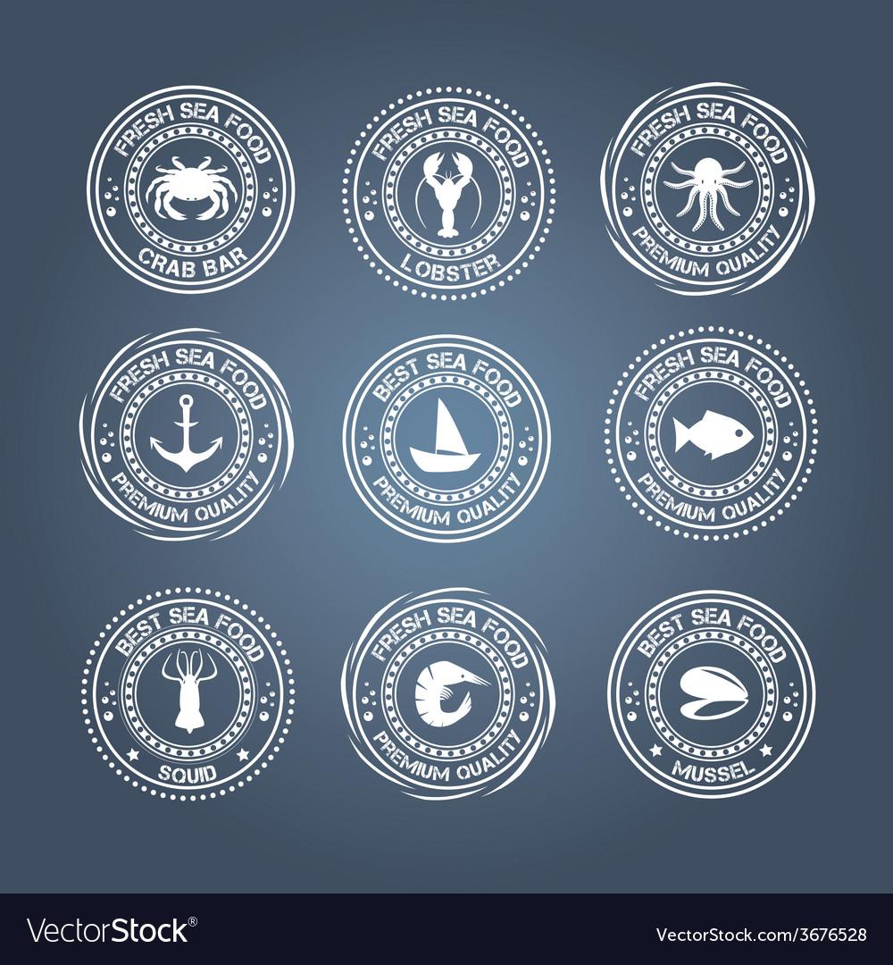 Set of vintage and modern seafood logo restaurant vector image