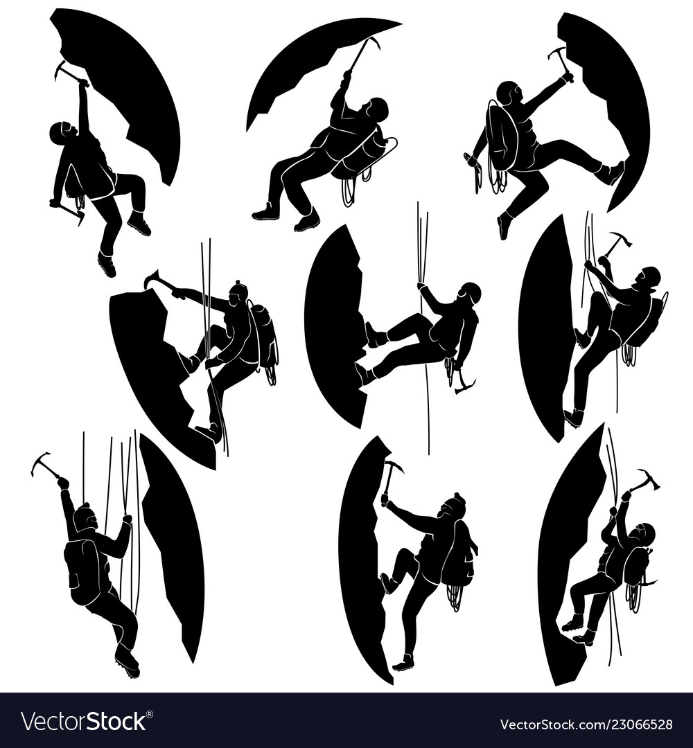 Set silhouettes of alpinists climbers