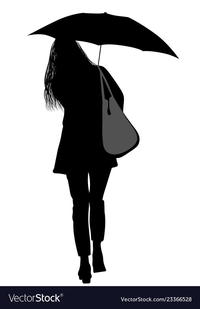 e1194bd93026f Silhouette of a woman with an umbrella Royalty Free Vector