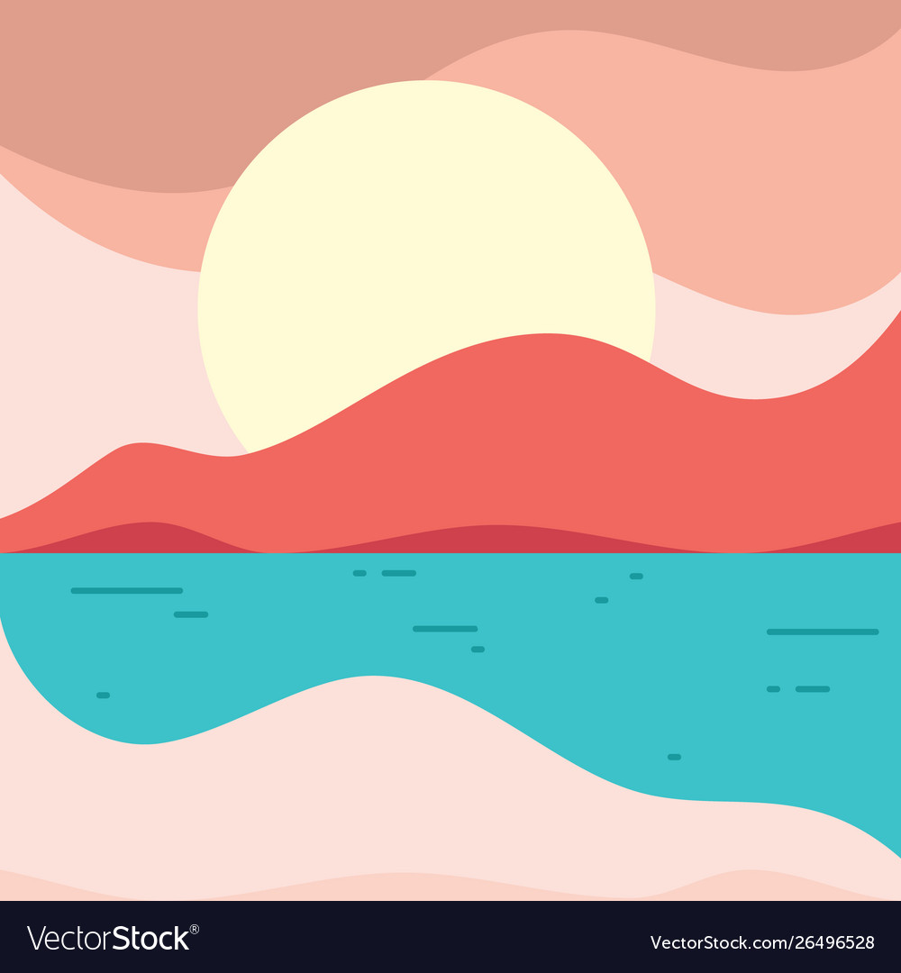 Simple beach landscape in flat style for element