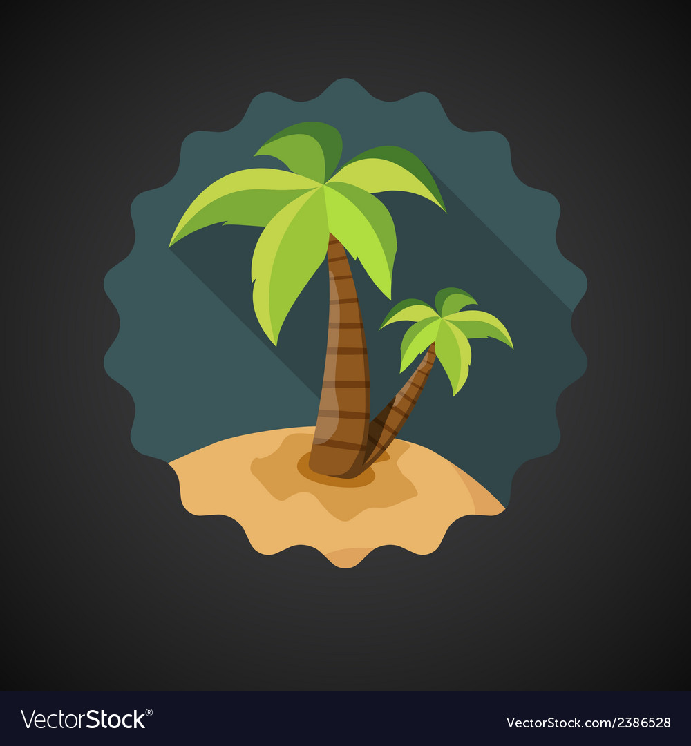 Summer travel sea island with palm flat icon