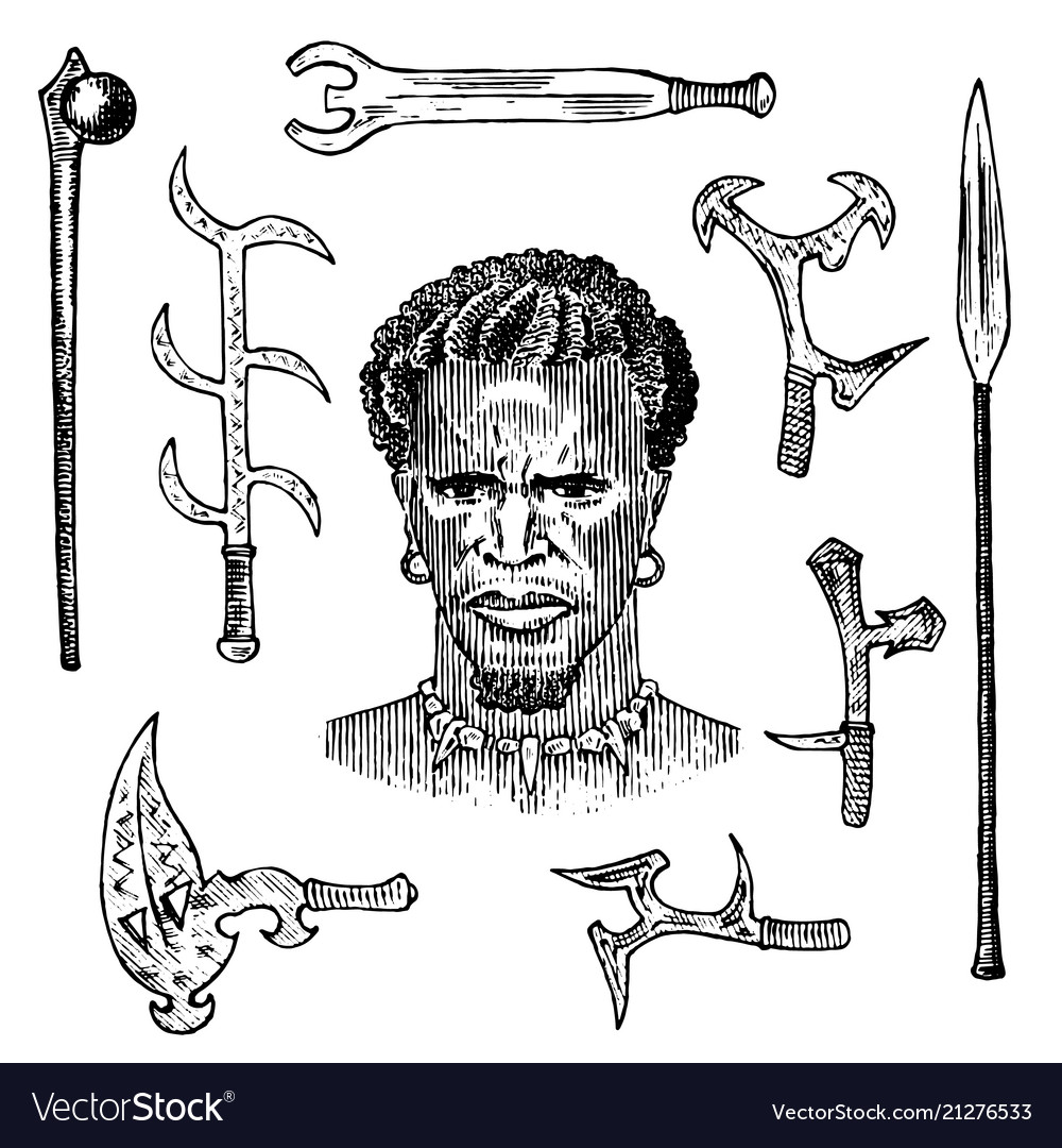 African tribe with spears and weapons portrait of