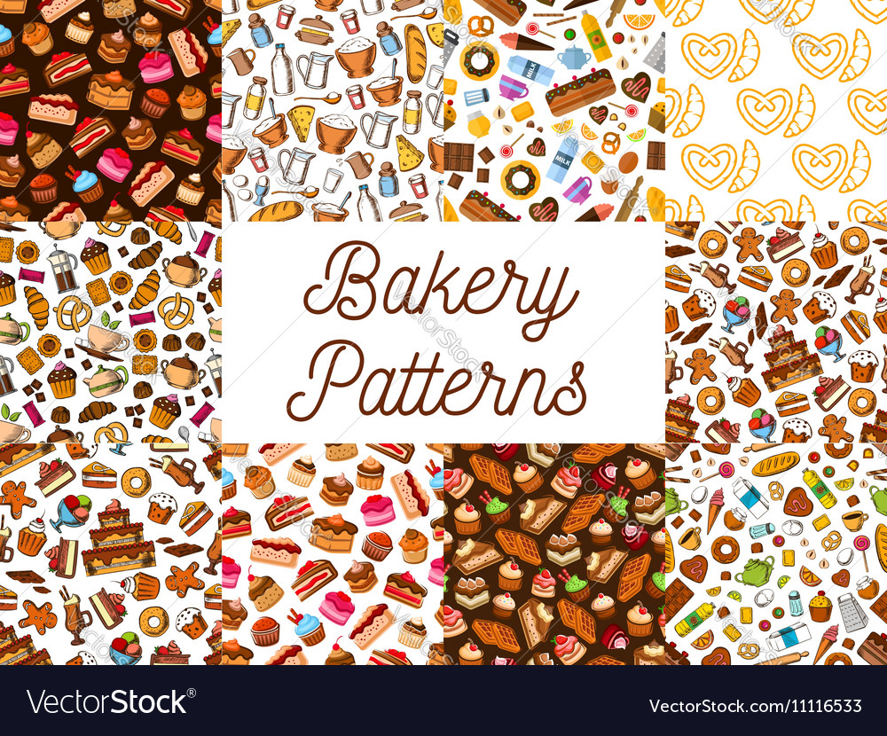 Bakery and pastry desserts seamless patterns set