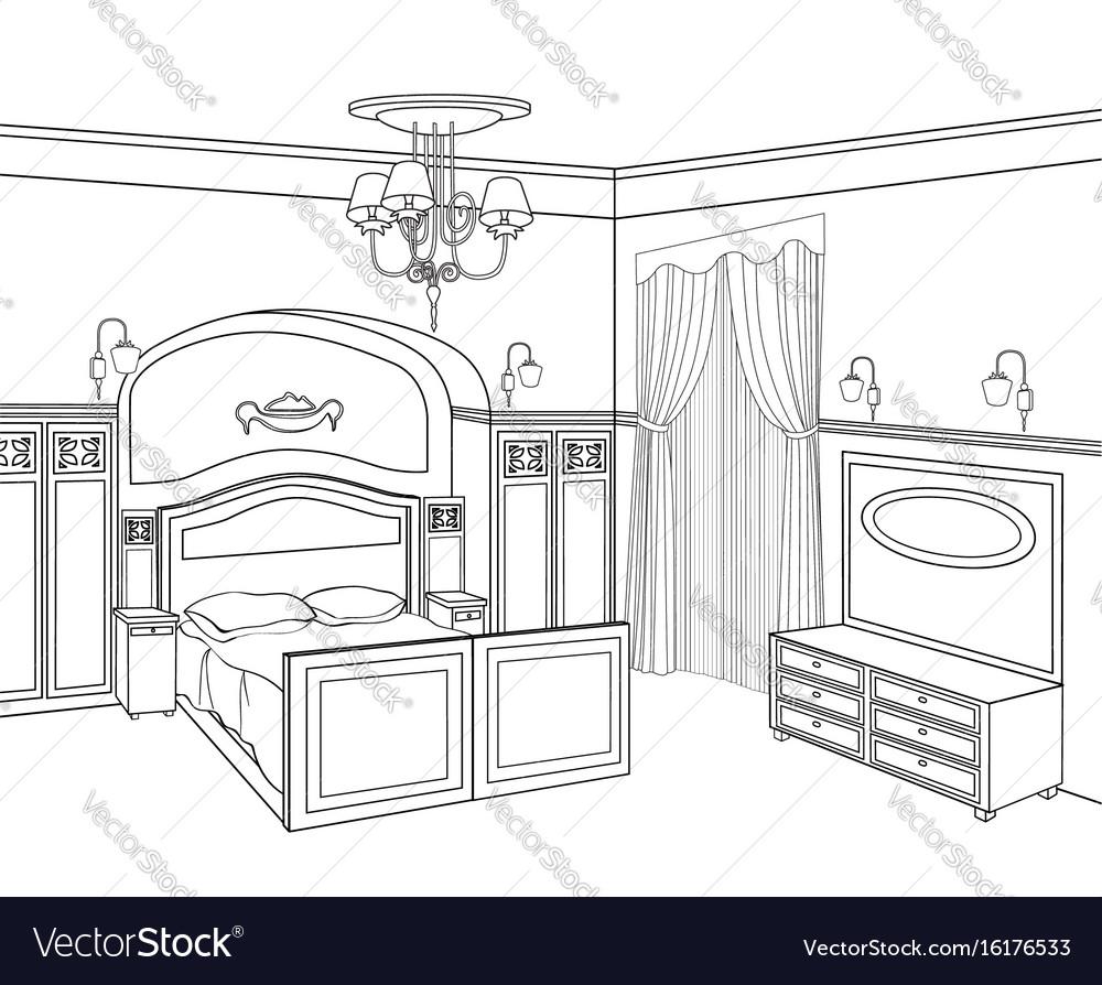 Bedroom furniture room interior outline sketch