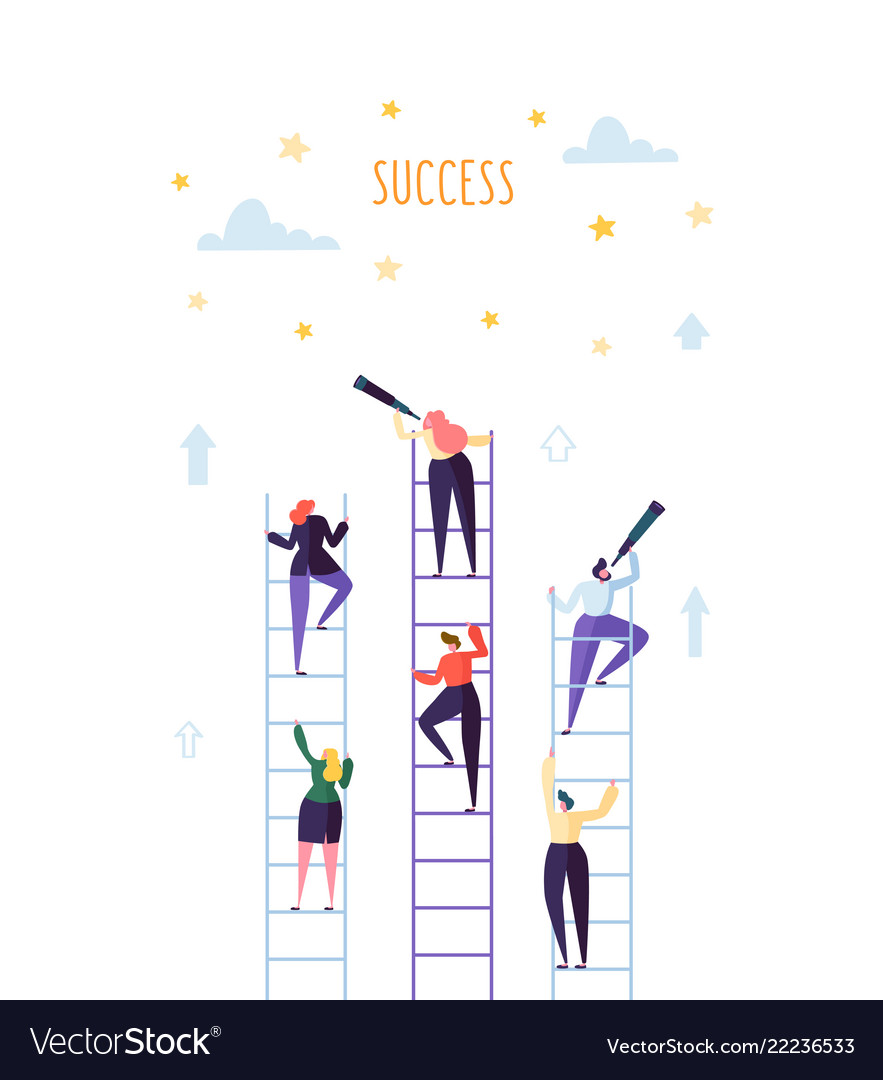 Business people climbing on ladder to success