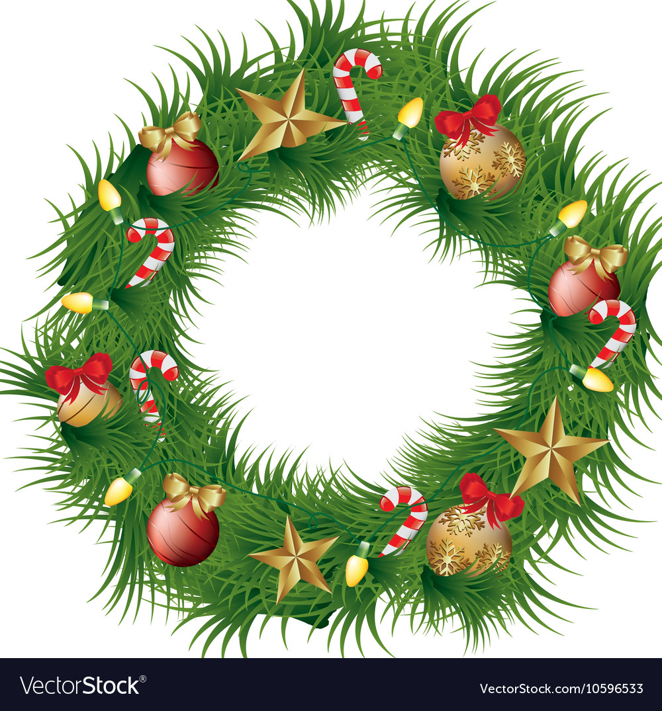 Christmas wreath thin. Decoration icon