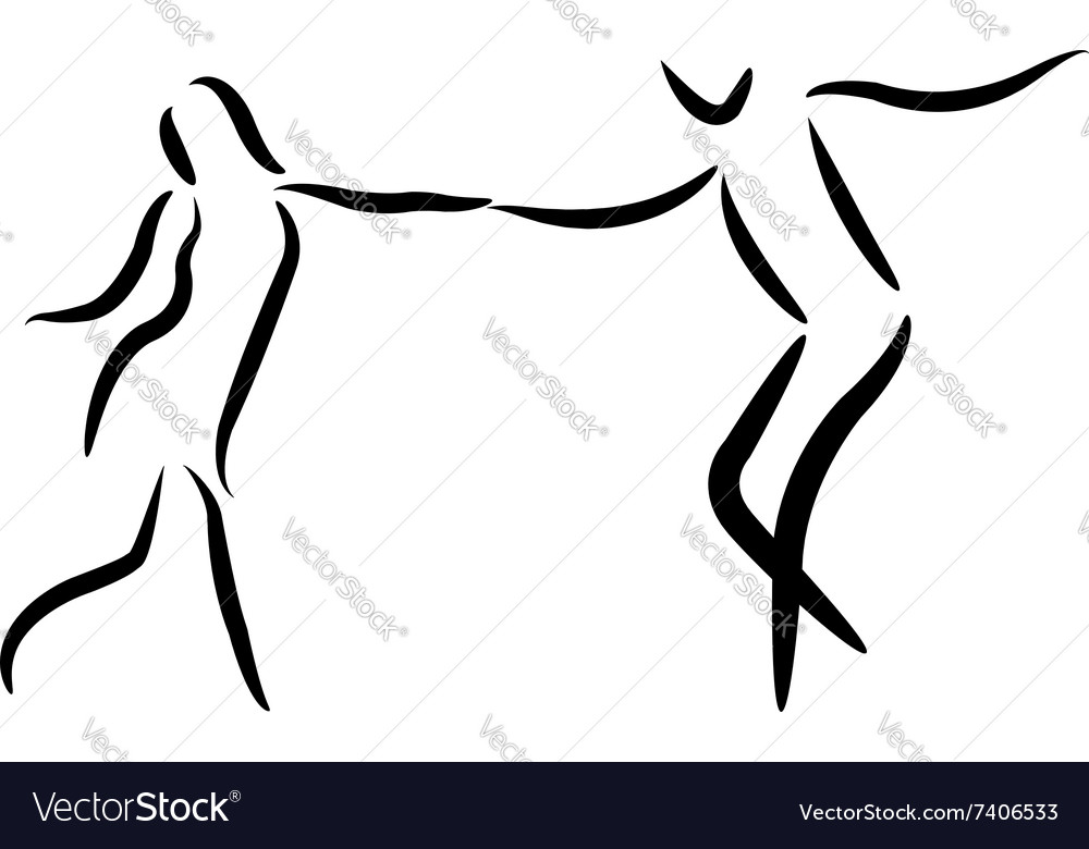 Dancing couple isolated silhouette