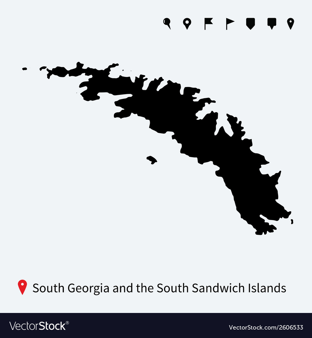 Detailed map of South Georgia and Sandwich Islands