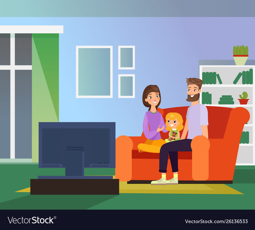 Family together watching tv