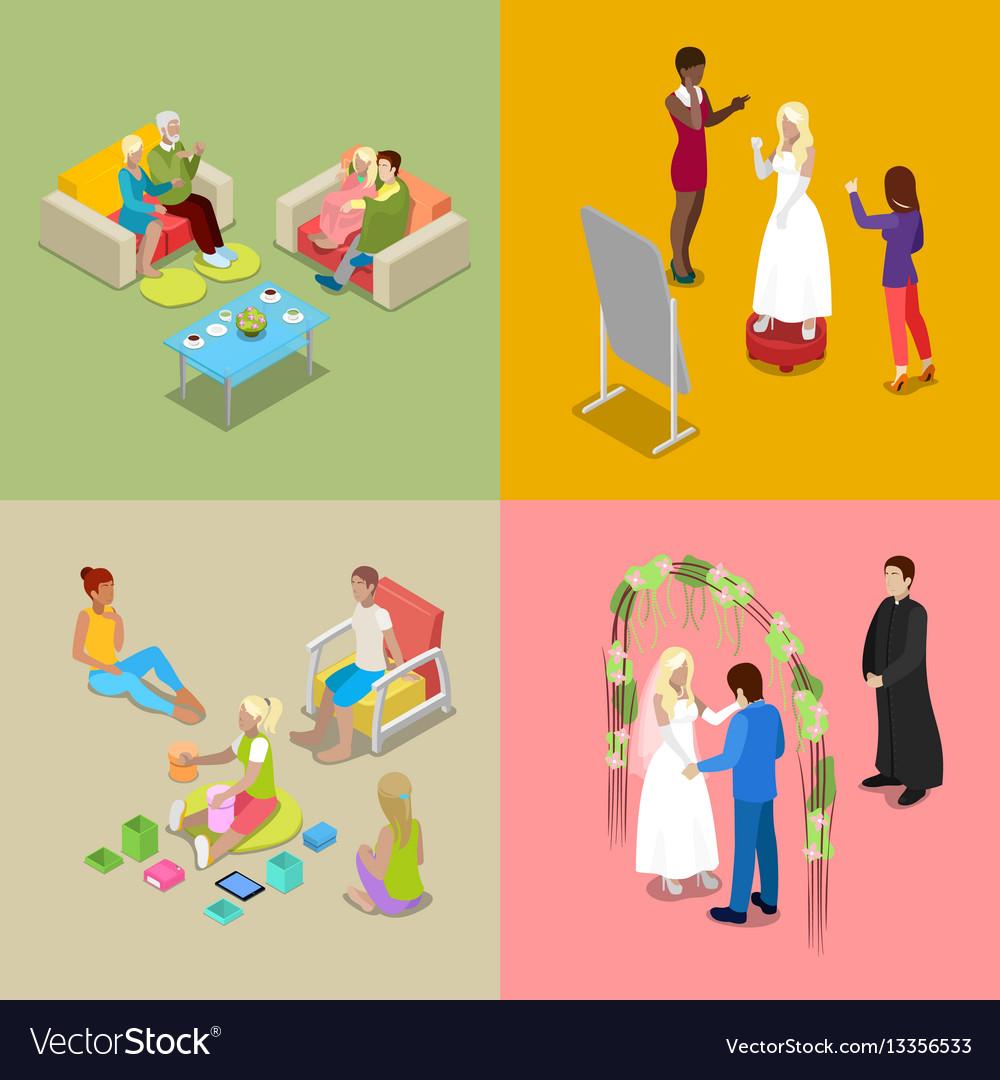 Isometric wedding ceremony with bride and groom